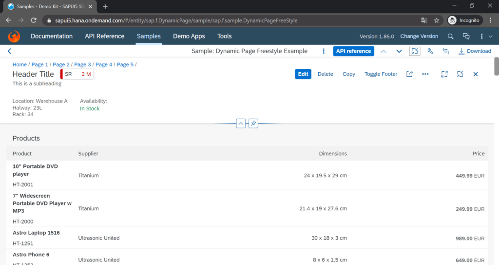 sapui5_dynamic_page_control_screenshot
