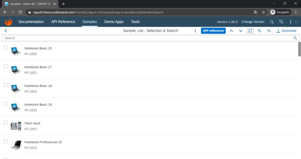 sapui5_search_bar_list_screenshot