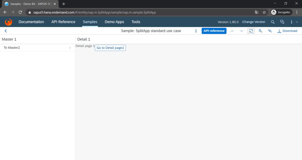 sapui5_split_app_control_screenshot