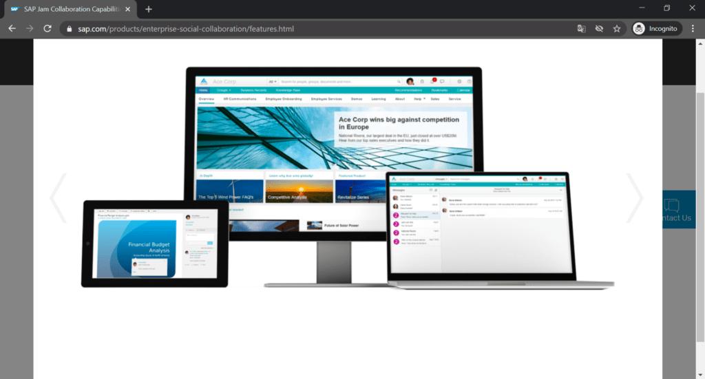 SAP Jam screenshot.